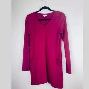 J. JILL Tunic Sweater Dress Red Long Sleeve S